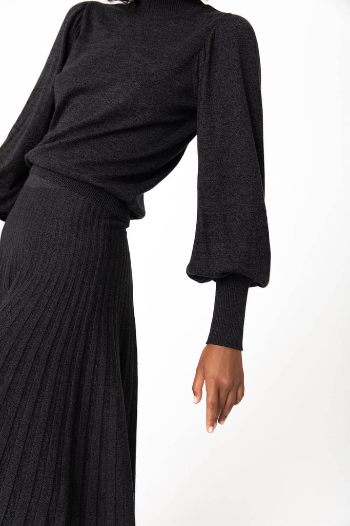 Rowie Frida Knit Long Sleeve Charcoal
