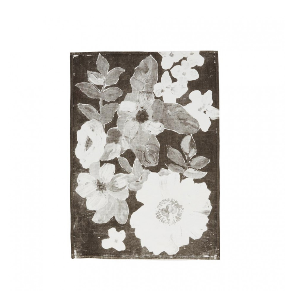 Painted Floral Black Tea Towel