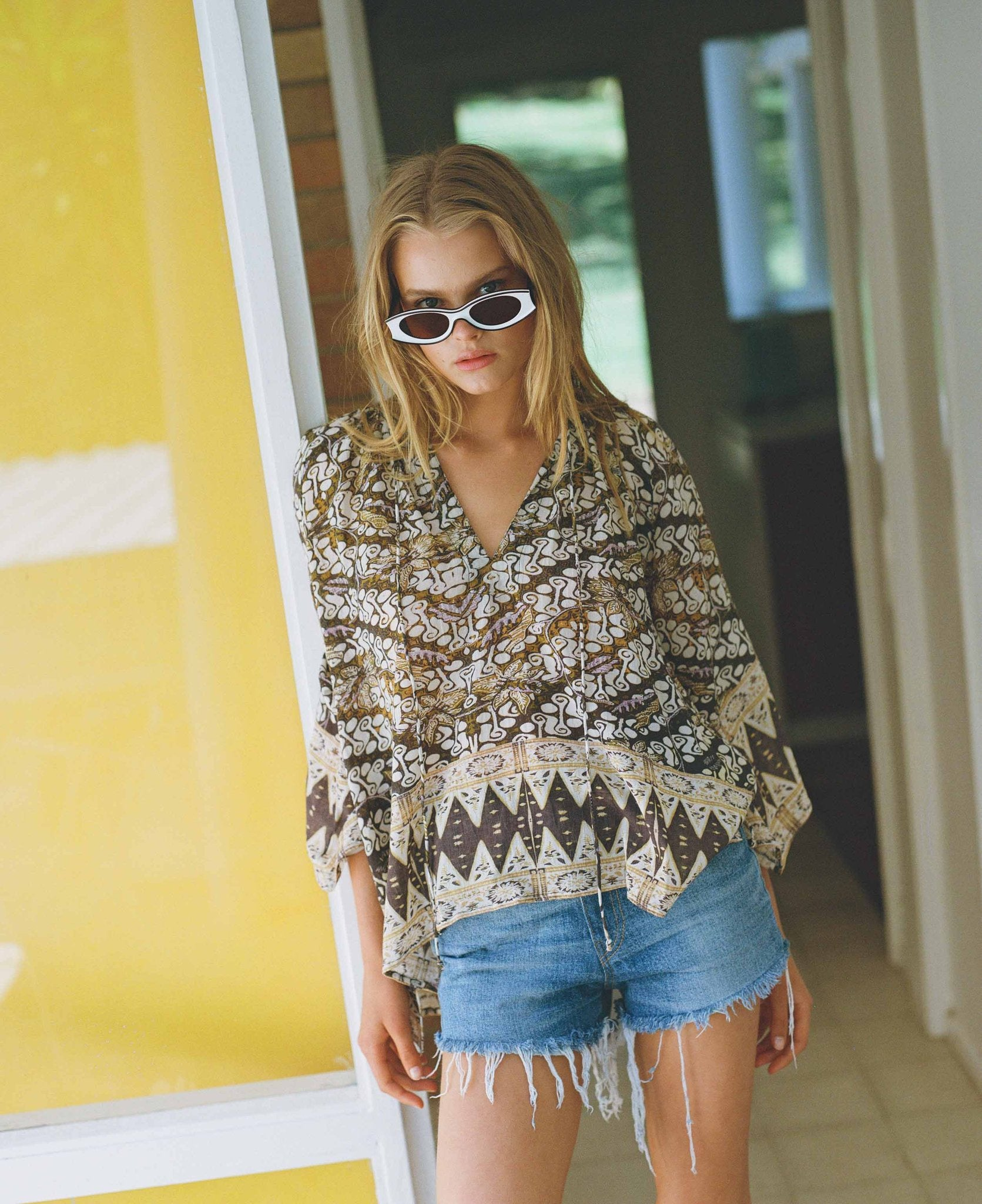 Kinga Csilla Boro Border Blouse