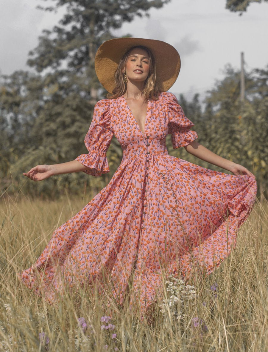 The Story Of Xola Maxi Dress Vine Pink