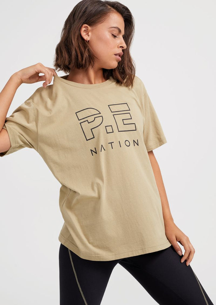 PE Nation Heads Up Tee Olive Gray
