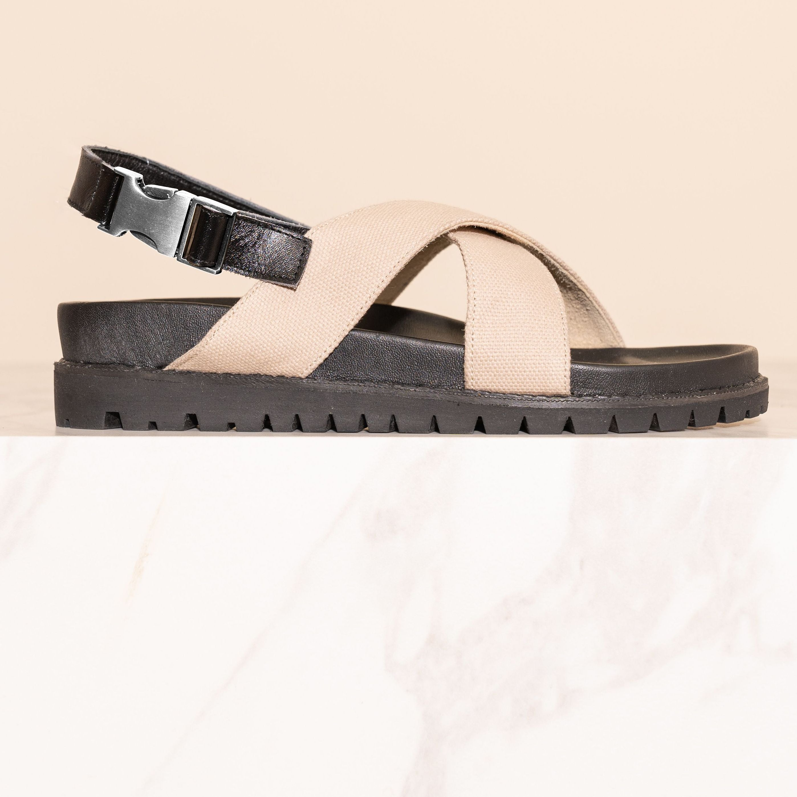 James Smith Condotti Sandal Cream Canvas