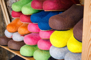 felt slippers ethically sourced 100% Mongolian wool available to buy at Jampa Ling Tibetan Buddhist center