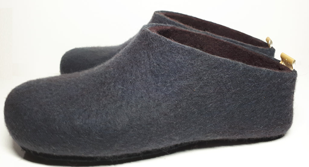 Slate Grey Dark Plum Interior Men's Slipper