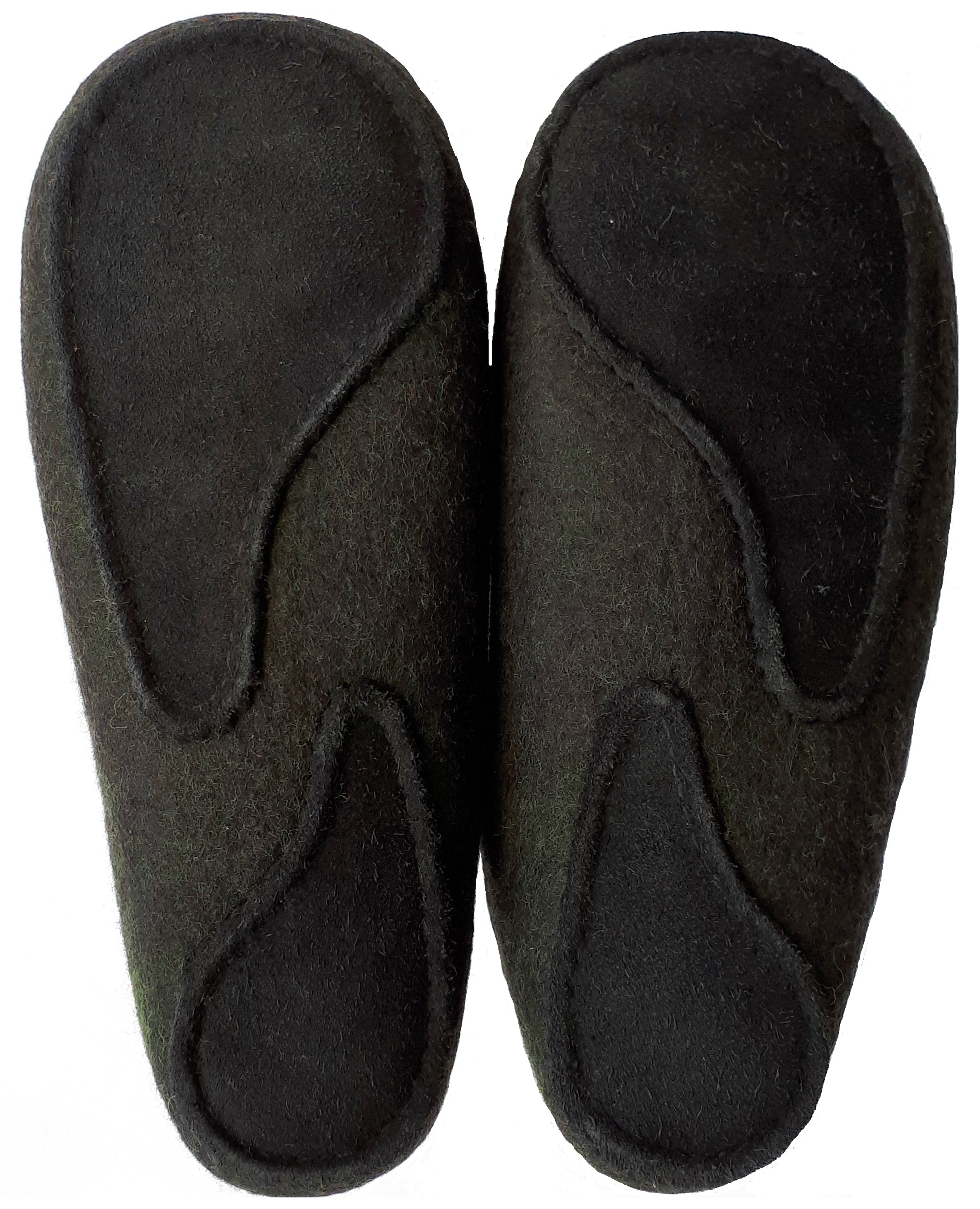 men's handmade 100% wool felt slipper with durable faux suede leather sole from Mongolia
