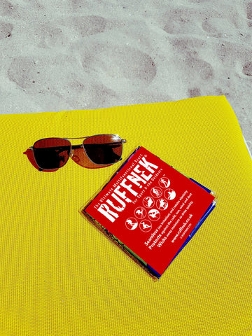 Ruffnek packaging on sunbed