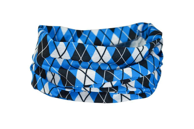Argyle Blue, White & Black Neck Gaiter RUFFNEK® Blue