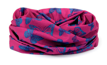 Dark Pink & Blue Butterfly Multifunctional Scarf RUFFNEK® Pink