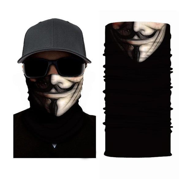 Guy Fawkes Mask Multifunctional Scarf RUFFNEK® Black