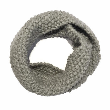 100% Baby Alpaca Hand Knitted Infinity Scarf - Light Grey Infinity Scarf Neck warmer RUFFNEK® Dark Grey