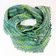Hand Knitted Wrap Scarf - Green Infinity Scarf Neck warmer RUFFNEK® Green/Blue