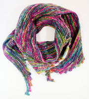 Hand Knitted Wrap Scarf - Multicoloured Infinity Scarf Neck warmer RUFFNEK® Pink/Blue/Green/Purple