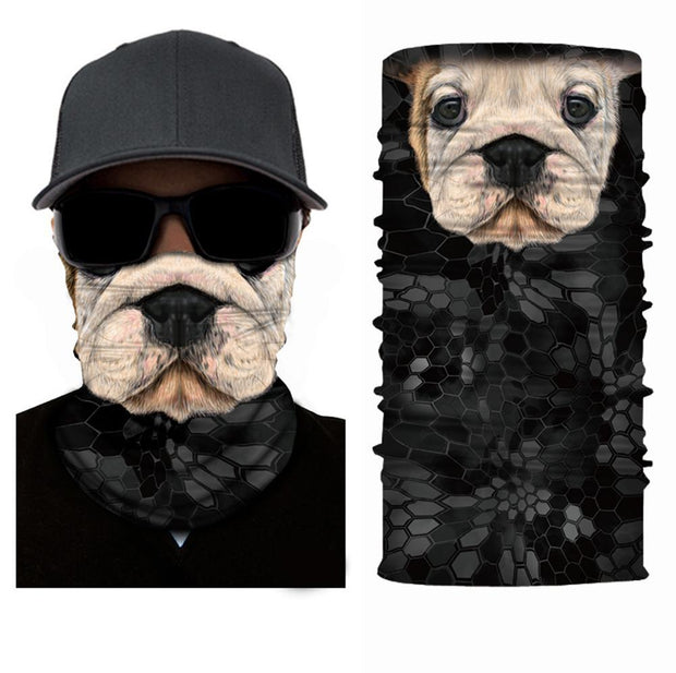 Bull Dog Face Mask Multifunctional Scarf RUFFNEK® Black