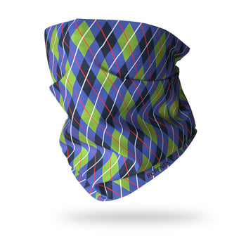 Argyle Green & Blue Multifunctional Scarf RUFFNEK® Blue/Green