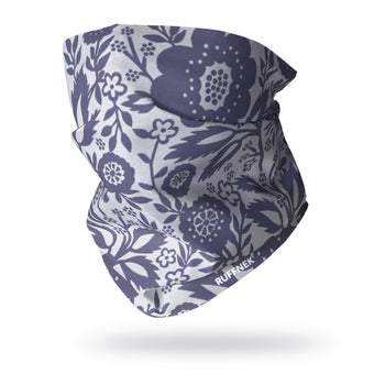 Blue & Light Grey Flower Multifunctional Scarf RUFFNEK® Blue/Grey