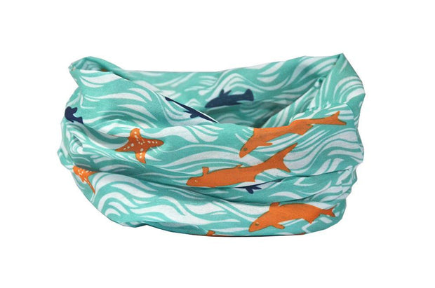 Waves & Fishes Multifunctional Scarf RUFFNEK® Turquoise/white/orange