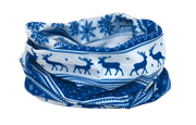 Winter Nordic Snowflake & Reindeer Design - Blue Multifunctional Scarf RUFFNEK® Blue/White