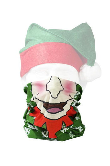 Xmas Elf Face Neck Gaiter RUFFNEK® Green/Red