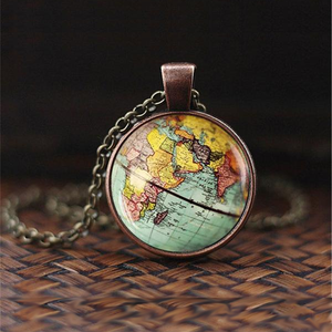 Earth World Map Globe Necklace