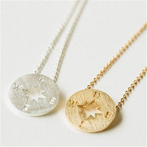 Round Compass Travel Necklace