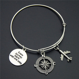Silver Wanderlust Traveling The World Bracelet