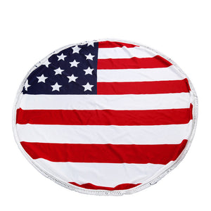 Round Hippie Tassel Tapestry Beach Towel - US Flag