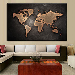 Large Abstract Black Canvas Painting World Map