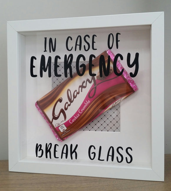 In Case Of Emergency Break Glass Chocolate Print Frame