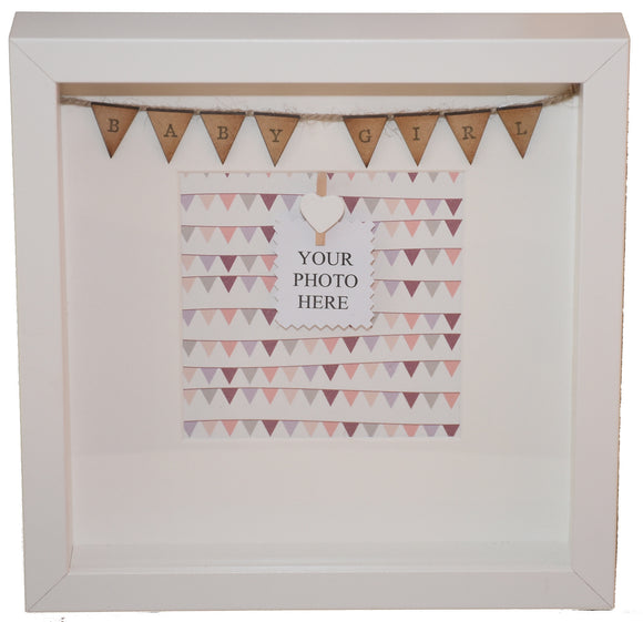 Baby Girl - Handmade Bunting Photo Box Frame