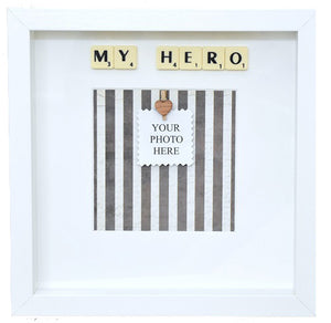 MY HERO - Handmade Scrabble Photo Box Frame