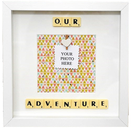 OUR ADVENTURE - Handmade Scrabble Photo Box Frame