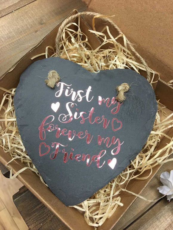 Hanging Slate Heart Sentiment Decoration -Sisters