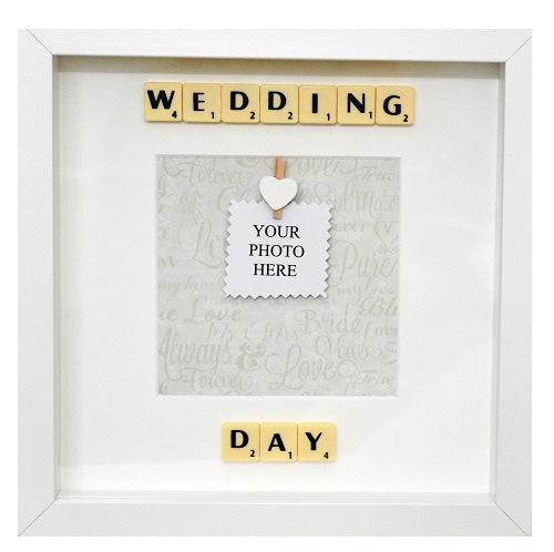 WEDDING DAY - Handmade Scrabble Photo Box Frame