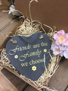 Hanging Slate Heart Sentiment Decoration-Friendship