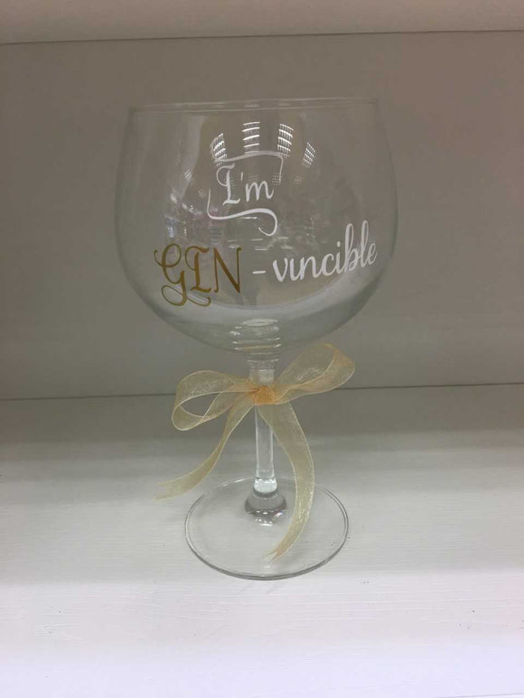 'I'm Gin-Vincible' Large Gin Glass