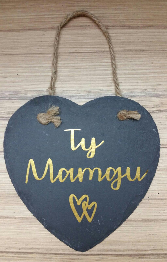 Hanging Sentiment Slate Heart Decoration-Ty Mamgu