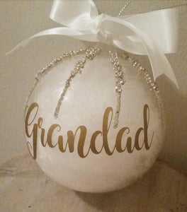 'Grandad' Hanging Feather Christmas Tree Bauble