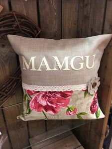 "18"" Handmade Personalised Floral Design Cushion"
