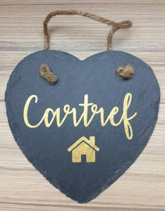 Hanging Slate Heart Decoration-'Cartref'