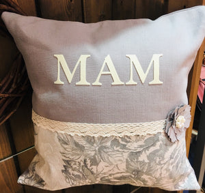 "18"" Handmade Personalised Grey Floral Design  Cushion"
