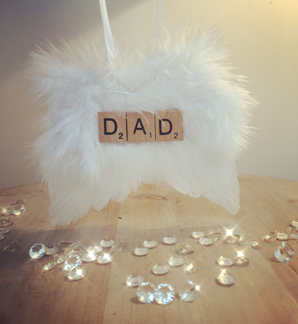 'Dad' Scrabble Hanging Angel Feather Wings
