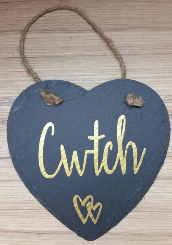 Hanging Sentiment Slate Heart Decoration-Cwtch
