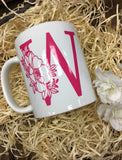A-Z Alphabet Mugs With Botanical Floral Design