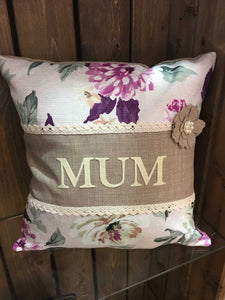 "Handmade 18"" Personalised Floral Design Cushion"