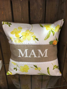 "Handmade 18"" Personalised Yellow Floral Design Cushion"
