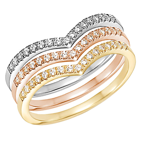Stackable Chevron Diamond Ring Eternity 14k Gold V Band VS/SI