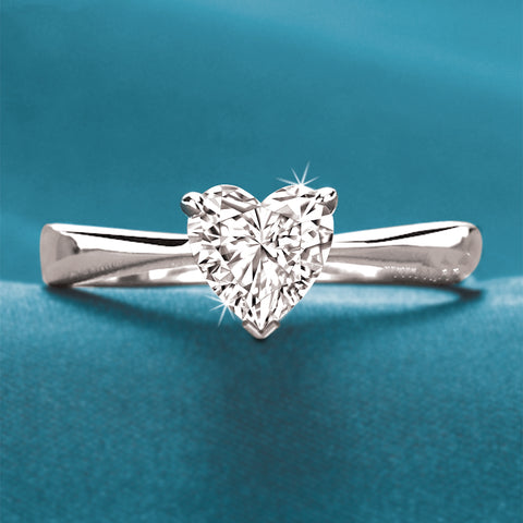 GIA Certified 1 CT H/I Color VS2 Excellent Cut Heart Shape Diamond Ring 18K