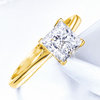 GIA Certified 1CT EX EX EX Princess Cut Diamond Ring I Color 14k Yellow Gold SI1