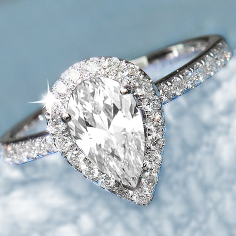 0.90 CT Pear Halo Diamond Engagement Ring