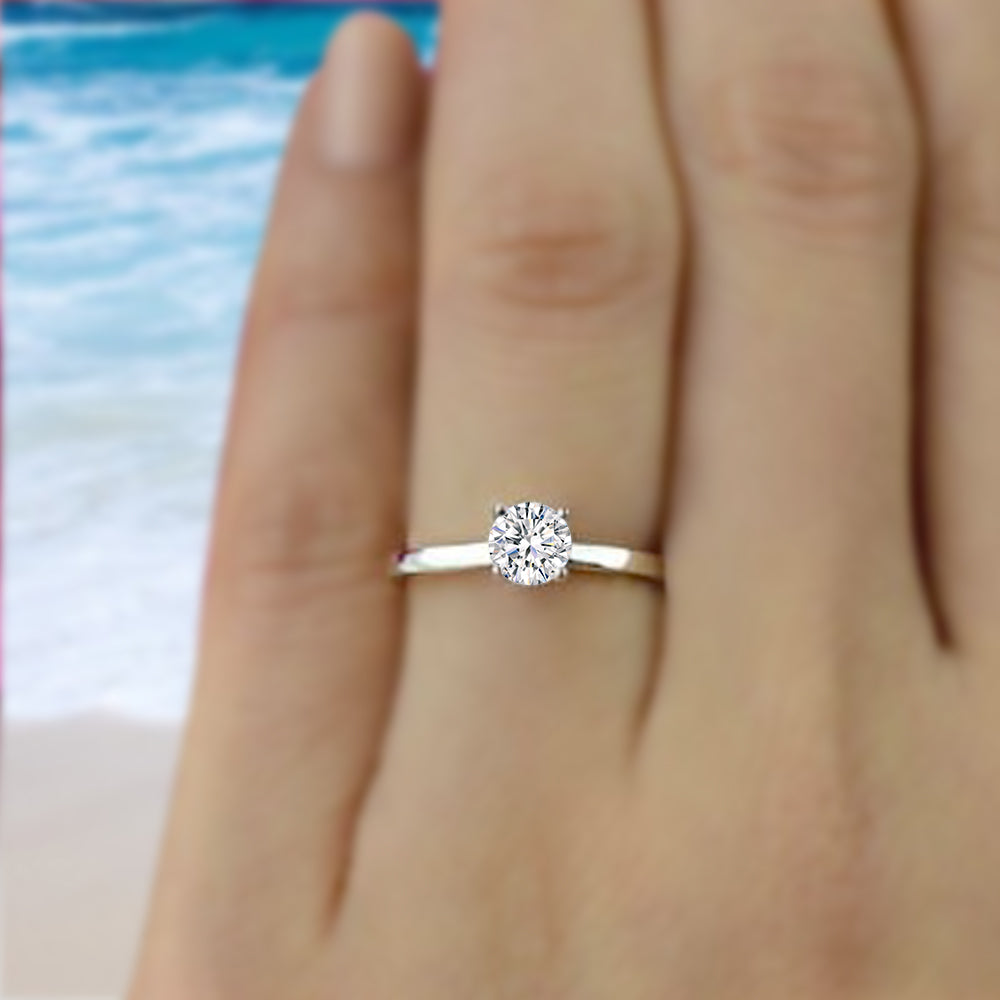 ... GIA Certified 1 2 Carat Diamond Solitaire Ring 14k Solid White Gold ... a85cb2490